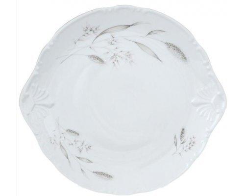 Тарелка для торта 27 см Тхун (Thun) Констанция Серебряные колосья