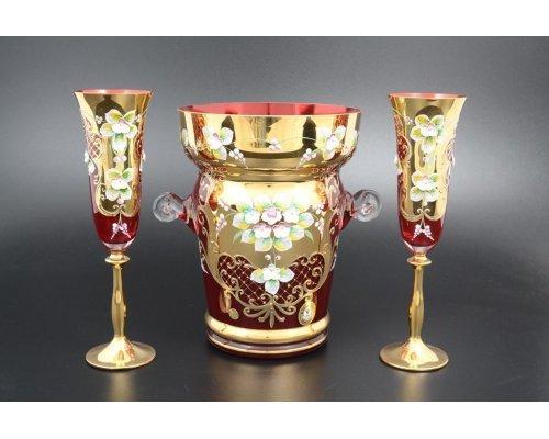 Набор для шампанского 7 предметов Bohemia (Богемия) Лепка Красная E-V