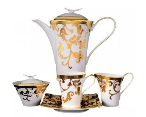 Чайный сервиз на 6 персон 17 предметов Falkenporzellan Tosca Creme Gold