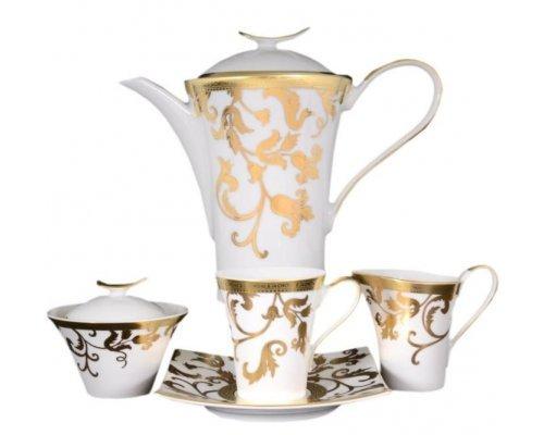 Чайный сервиз на 6 персон 17 предметов Falkenporzellan Tosca White Gold