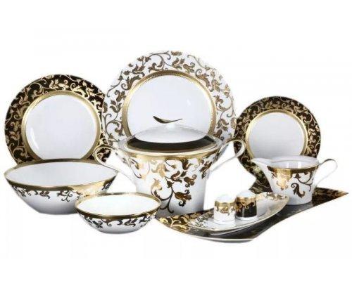 Столовый сервиз на 6 персон 27 предметов Falkenporzellan Tosca Black Gold