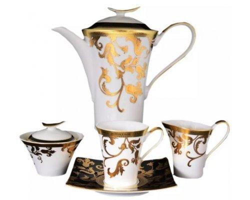 Чайный сервиз на 6 персон 17 предметов Falkenporzellan Tosca Black Gold