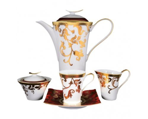 Чайный сервиз на 6 персон 17 предметов Falkenporzellan Tosca Bordeaux Gold