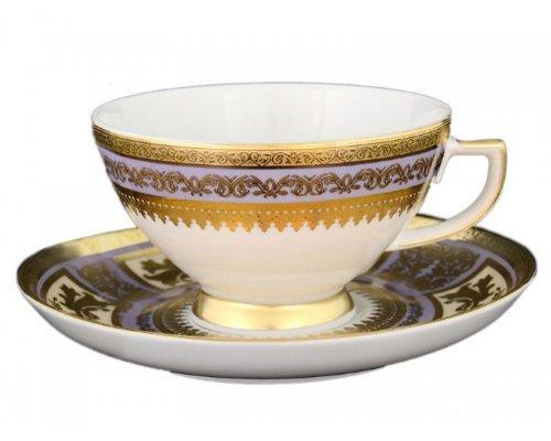 Набор чайных пар 250 мл Falkenporzellan Diadem Violet Creme Gold (6 пар)