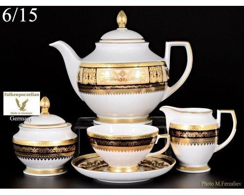 Чайный сервиз на 6 персон 17 предметов Falkenporzellan Diadem Black Creme Gold