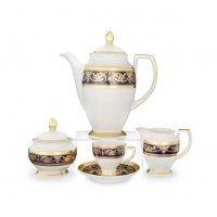 Кофейный сервиз на 6 персон 17 предметов Falkenporzellan Imperial Cobalt Gold
