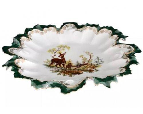 Блюдо фигурное круглое 35 см Охота зеленая Корона Queens Crown