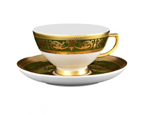 Набор чайных пар 250 мл Falkenporzellan Imperial Green Gold (2 пары)