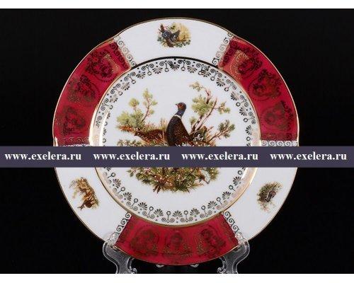 Набор тарелок 19 см Охота Красная Барокко Royal Czech Porcelain (6 шт)