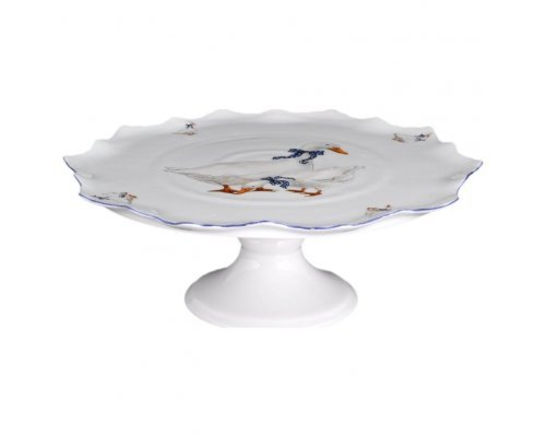 Тарелка для торта 30 см на ножке Гуси Корона Queens Crown