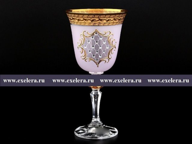 Набор бокалов для вина 220 мл Кристина Версаче Стразы R-G розовый фон Bohemia (Богемия) (6 шт)
