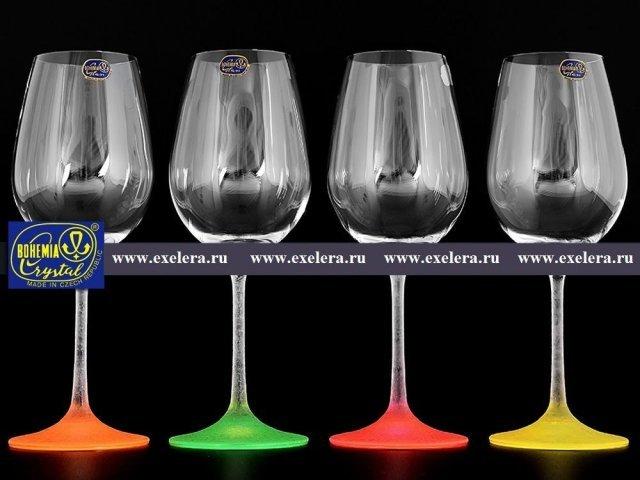Набор бокалов для вина 350 мл Арлекино Неон Богемия Кристал (Bohemia Crystal) (4 шт)