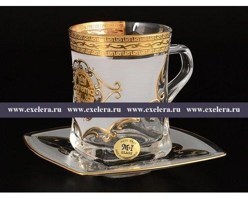 Набор чайных пар 270 мл Версачи Богемия U-R фон Богемия Кристал (Bohemia Crystal) (6 пар)