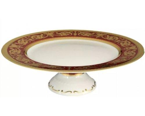 Тарелка для торта 32 см на ножке Falkenporzellan Imperial Bordeaux Gold