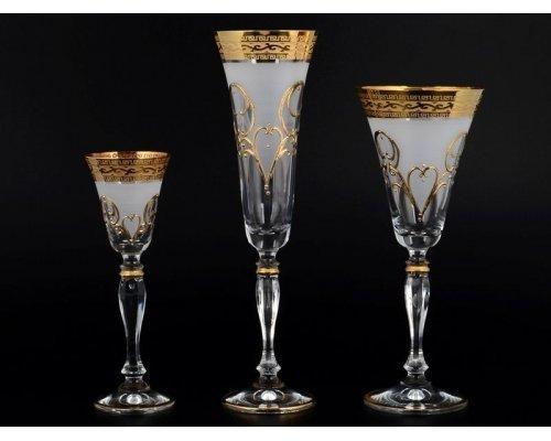Набор фужеров 18 предметов Виктория Версачи R-G фон Богемия Кристал (Bohemia Crystal)