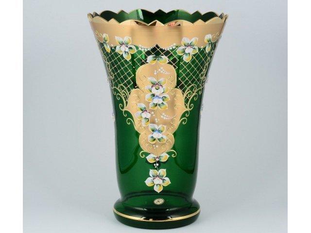 Ваза для цветов И-В зеленая Bohemia Crystal широкая 40 см
