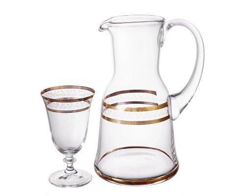 Набор для воды 7 предметов Золотой Лист V-D Богемия Кристал (Bohemia Crystal)