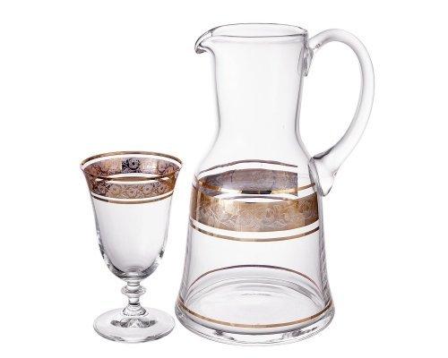 Набор для воды 7 предметов Клаудия Золото V-D Богемия Кристал (Bohemia Crystal)