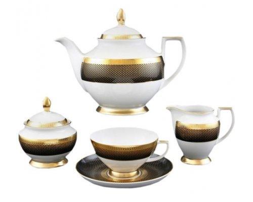 Чайный сервиз на 6 персон 17 предметов Falkenporzellan Rio black gold