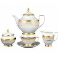 Чайный сервиз на 6 персон 17 предметов Falkenporzellan Rio white gold
