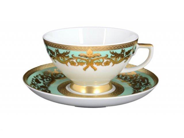 Набор чайных пар 250 мл Falkenporzellan Natalia green gold (6 пар)