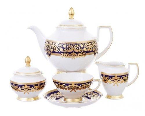 Чайный сервиз на 6 персон 17 предметов Falkenporzellan Natalia cobalt gold