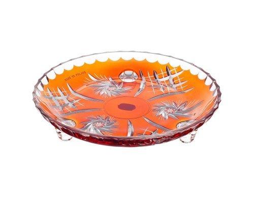 Тарелка на ножках оранжевый 18 см Цветной хрусталь Bohemia (Богемия)