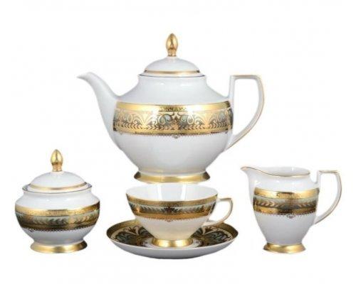 Чайный сервиз на 6 персон 17 предметов Falkenporzellan Arabesq Greenshadow Gold