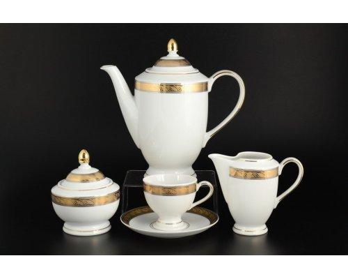 Кофейный сервиз 6 персон 17 предметов Тхун (Thun) Кристина Платиновая золотая лента