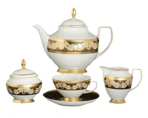 Чайный сервиз на 6 персон 17 предметов Falkenporzellan Belvedere Combi BLACK Gold