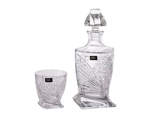 Набор для виски на 2 персоны 3 предмета Quadro Снежинка Богемия Кристал (Bohemia Crystal)
