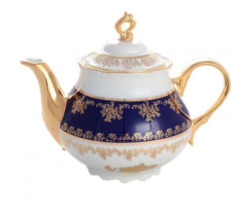 Чайник 1,2 мл Тхун (Thun) Констанция Золотая роза Кобальт 7635400