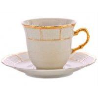 Набор чайных пар Thun Менуэт Отводка золото 165 мл (6 пар)