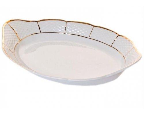 Блюдо для хлеба 33 см Тхун (Thun) Менуэт Отводка золото