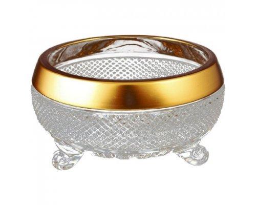 Конфетница тройножка 20 см Crystal heart Золотые полосы