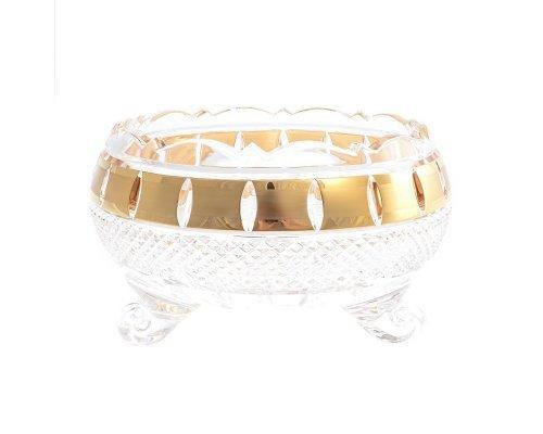 Конфетница на трех ножках 15 см Crystal heart Золотые окошки