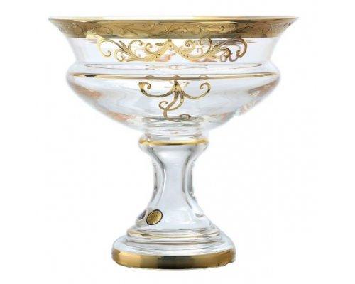 Ваза для конфет 20 см Star Crystal Золотые узоры прозрачная