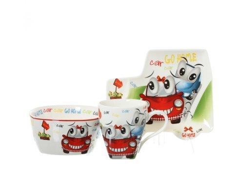 Детский набор фарфоровой посуды Машинки Go Home Royal Classics 3 предмета