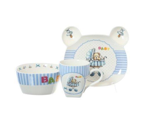 Детский набор посуды для мальчика Baby Royal Classics голубой 3 предмета