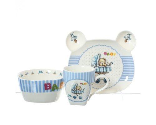 Детский набор посуды для мальчика Baby Royal Classics синий 3 предмета