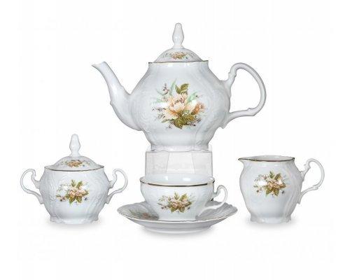 Чайный сервиз на 6 персон 17 предметов Бернадотт Зеленый цветок