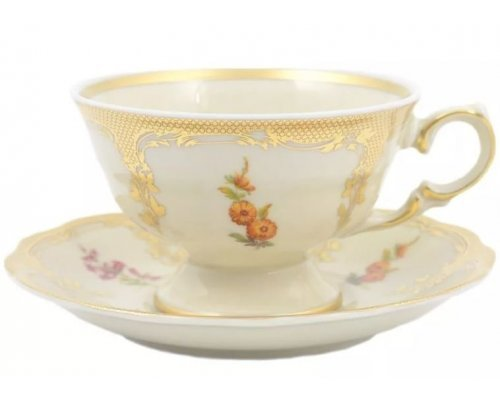 Набор чайных пар Аляска Мелкие цветы Слоновая кость Carlsbad 240 мл 6 штук