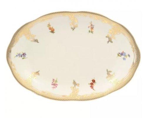 Блюдо овальное 32 см Аляска Мелкие цветы Слоновая кость Carlsbad