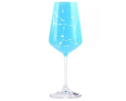 Набор бокалов для вина 350 мл 6 шт Sandra Crystalex голубой
