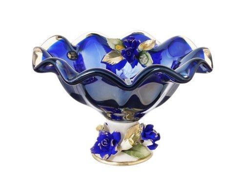 Конфетница White Cristal 24 см синяя