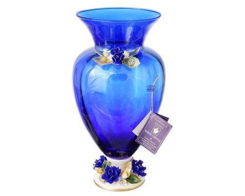Ваза для цветов White Cristal 40 см синяя