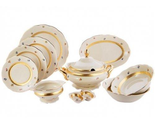Сервиз столовый Epiag Золотая лента и цветы слоновая кость на 6 персон 25 предметов
