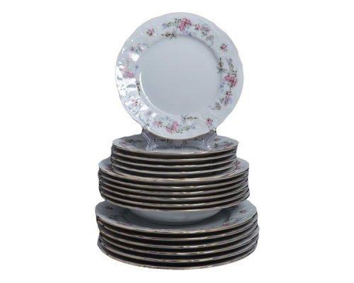 Набор тарелок 18 предметов Бернадотт Дикая роза золото