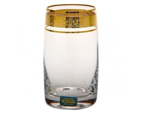 Набор стаканов для воды 250 мл Идеал Золото V-D Богемия Кристал (Bohemia Crystal) (6 шт)