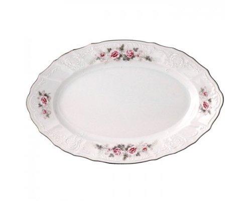 Блюдо овальное 26 см Бернадотт Серая роза платина
